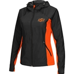 BLACK ZIP WITH HOOD WINDBREAKER ORANGE INSETS