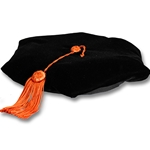 6 CORNER BLACK VELVET TAM WITH ORANGE TASSEL