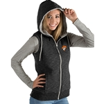 HEATHER BLACK HOODED FULL ZIP VEST