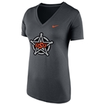 NIKE ANTHRACITE SHORT SLEEVE DRI FIT V NECK TEE