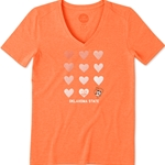 LIFE IS GOOD ORANGE SHORT SLEEVE COOL VEE