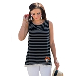GAMEDAY COUTURE BLACK/WHT STRIPE TASSEL TANK