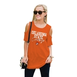GAMEDAY COUTURE ORANGE COLD SHOULDER TOP