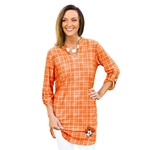 GAMEDAY COUTURE BEST DRESSED ORANGE PLAID TUNIC