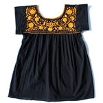 BLACK SMOCK WITH ORANGE EMBROIDERY