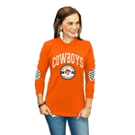 GAMEDAY COUTURE ORANGE LONG SLEEVE ELBOW PATCH TEE