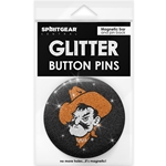 PISTOL PETE GLITTER BUTTON PIN