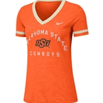 NIKE ORANGE SLUB V NECK RINGER TEE
