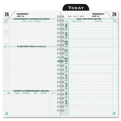 Pocket Calendar.Day Timer Original 2ppd Pocket Calendar Pages Refill Pocket Original 2ppd White Green Ea