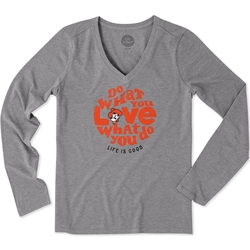 LIFE IS GOOD GREY LONG SLEEVE COOL VEE