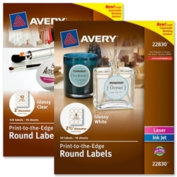 Avery Print-to-edge Glossy Round Labels LABEL,ROUND,2