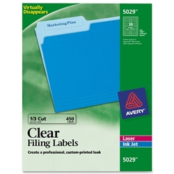 Avery Clear Top Tab Filing Labels LABEL,FILE FOLDER,CLEAR,450 (CLEAR) (PK)
