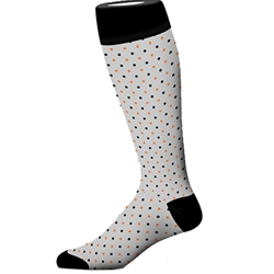 ORG/BLK MULTI SMALL DOT SOCK