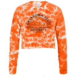 USCAPE ORANGE TYE DYE LONG SLEEVE VOYAGER CROP